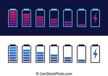 indicators., セット, レベル, 電池, 十分に, infographic., 隔離された, バックグラウンド。, 充満, ベクトル, 黒, smartphone., 満たされる, 解放された, アイコン