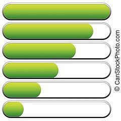 indicators., ローディング, editable, レベル, ベクトル, 低い, high., 進歩, バー