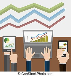 Vector illustration, indicators and statistics, which is displayed on a laptop , tablet and phone