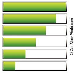 indicators., caricamento, editable, livelli, vettore, basso, high., progresso, barre