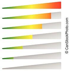 indicators., chargement, editable, niveaux, vecteur, bas, high., progrès, barres