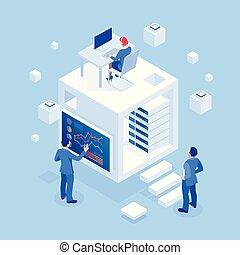 indicators., isometrico, amministrazione, marketing, affari, sicurezze, studio, investimento, analytics, strategia, ricerca, concetto, pianificazione, analisi, esecuzione, strategico, statistico, investimento, far male