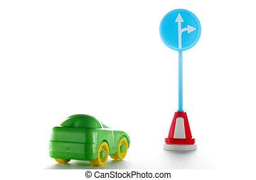 indicazione, automobile, dietro, segno strada