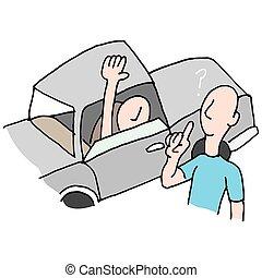 indicazione, chiedere, driver