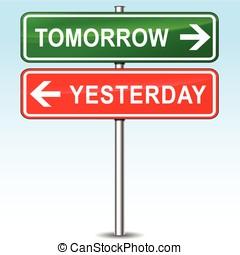 indicazione, ieri, domani, segno