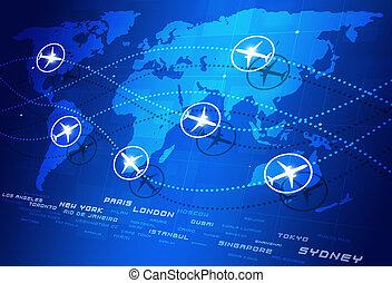 indicazione, mondo, aviazione
