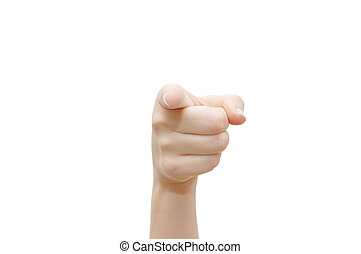 indice, blanc, isolé, fond, doigt