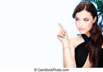 indice, femme, doigt, elle, point