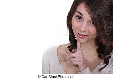indice, femme, elle, jeune, haut, lèvres, doigt, tenue
