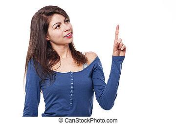 indice, femme, jeune, doigt, sourire, faire gestes