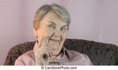 indice, femme, vieux, elle, figure, vagues finger, devant