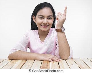 indice, girl, projection, elle, doigt