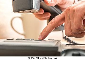 indice, haut, téléphone, noir, doigt, fin, composer