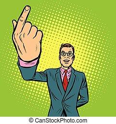 indice, homme, haut, doigt