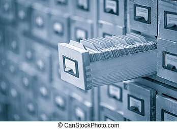 indice, immagine intonata, biblioteca, archivio, o, scheda