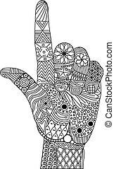 indice, pollice, zen, su, dito, groviglio, gesto