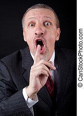 indice, sien, bouche, doigt, tenue, homme affaires