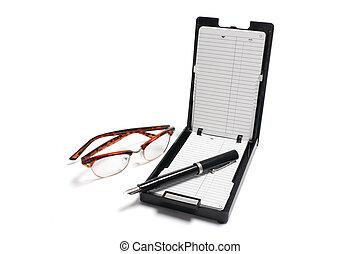 indice, stylo, lunettes, organisateur, téléphone