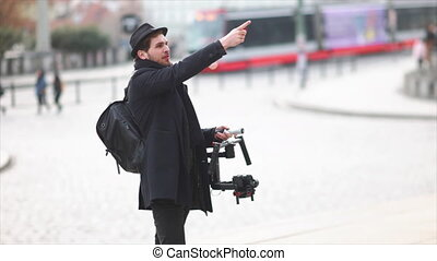 Indie Filmmaker Giving Out Directions - Cameraman working...