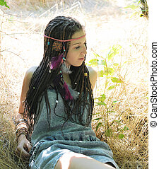 Indie, hippie style woman with dreads