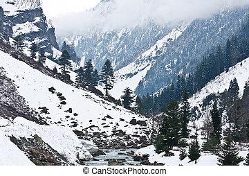 indie, kashmir, sonamarg, góry