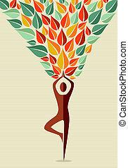 indie, ludzki, drzewo, yoga