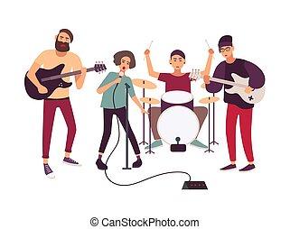 indie, műszerek, elszigetelt, éneklés, mikrofon, fiatal, háttér., zeneértők, zene, fehér, nő, rehearsing., banda, zenés, karikatúra, fokozat, illustration., előadó, vagy, vektor, kő, hím, játék