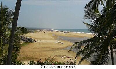 indie, plaża, południe