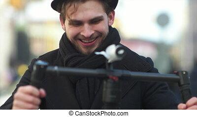 indie, stabilizator, elektronowy, patrzeć, filmmaker