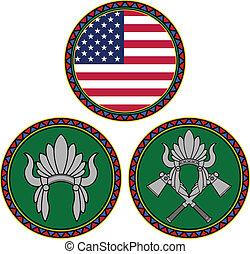 indien amérique, drapeau, coiffure