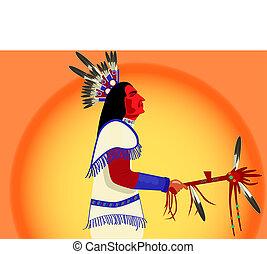 indien amérique, tambour, homme