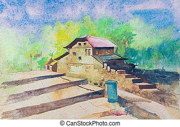indien, aquarelle, village