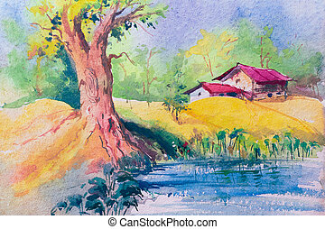 indien, aquarelle, village, rural, peinture