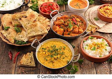indien, assorti, nourriture