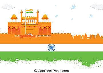 indien, baggrund, rødt fort