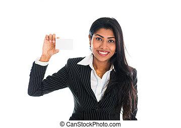 indien, business, femme, tenue, a, namecard, isolé, blanc