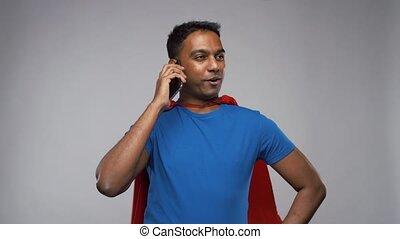 indien, cap, superhero, appeler, homme, smartphone