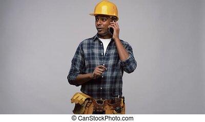 indien, constructeur, appeler, casque, smartphone