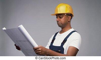indien, constructeur, plan, heureux, casque