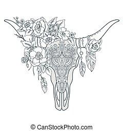 indien, décoratif, ornement, taureau, ethnique, l, fleurs, crâne