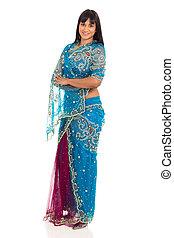 indien, dame, poser, dans, saree