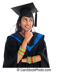 indien, diplômé, étudiant, pensée