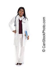 indien, docteur féminin, à, fond blanc