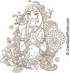indien, entouré, isolé, illustration, arrière-plan., vecteur, ornaments., fleurs blanches, lineart, girl
