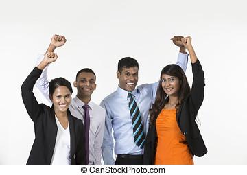 indien, equipe affaires, celebrating.