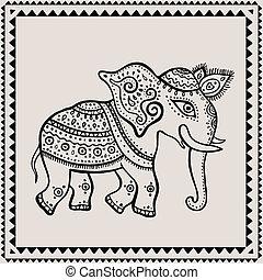 indien, ethnique, elephant., style.