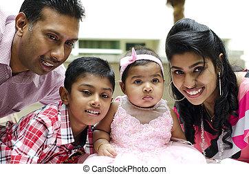 indien, famille, heureux