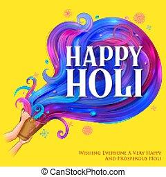 indien, feier, farbe karte, holi, fest, glücklich, design, hintergrund, grüße