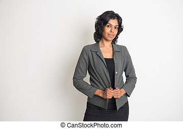 indien, femme affaires, à, uni, fond