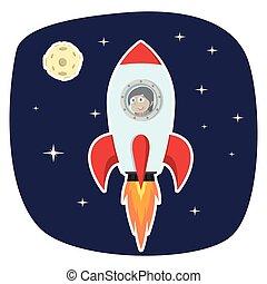 indien, femme affaires, fusée, lune, espace
